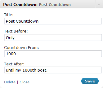 WordPress Post Countdown Plugin - Screenshot 1